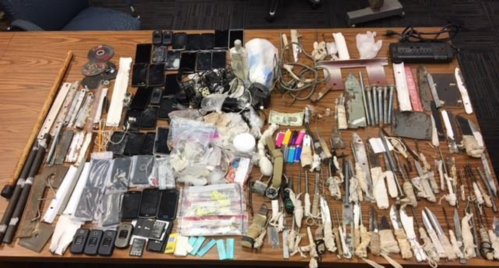 Pictured is a portion of the contraband seized during shakedown operations during the fourth quarter 2017.